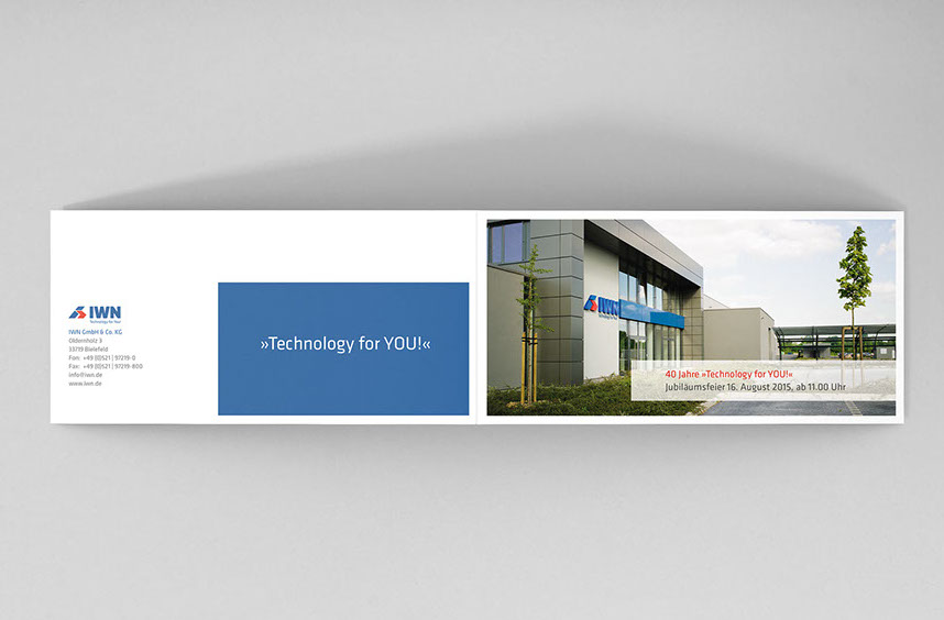 Einladung Zum Firmenjubiläum Für IWN, Karte Offen, Aussenansicht
